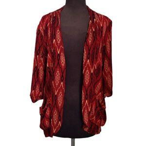 Forever 21 Tribal Print Kimono Pleated Red Pockets